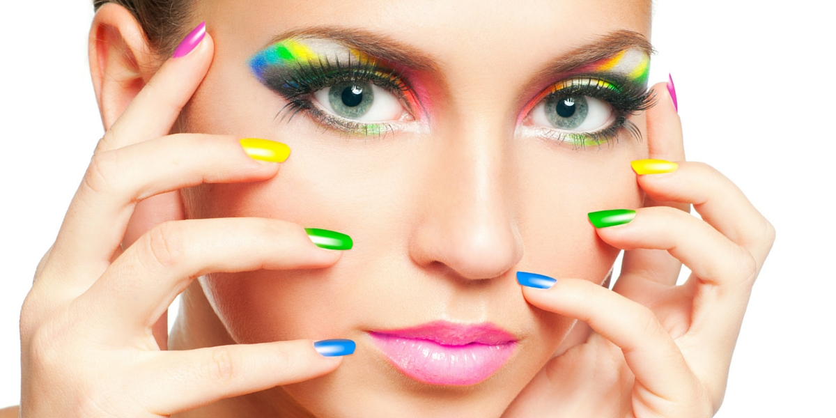 model face with nails multi coloured